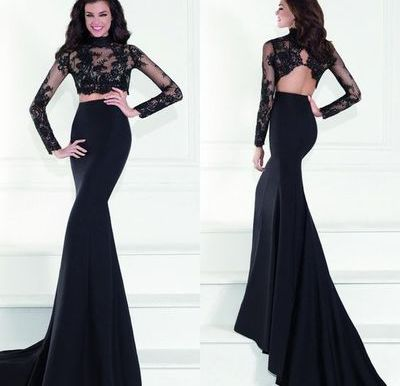 Custom Made Two Pieces Lace Prom Dresslong Sleeves Evening Dresssexy Backless Party Gownmermaid Prom Dress