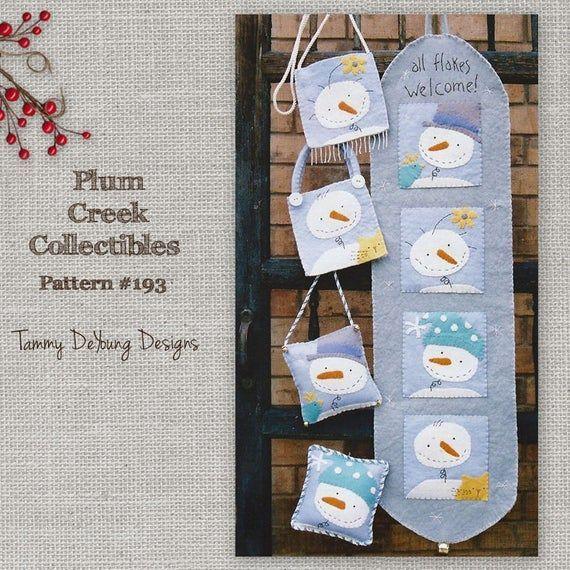 Patrón de muñeco de nieve de fieltro lana Banner de muñeco de nieve de invierno la navidad ornamento patrón decoraciones de la Navidad patr&oa...