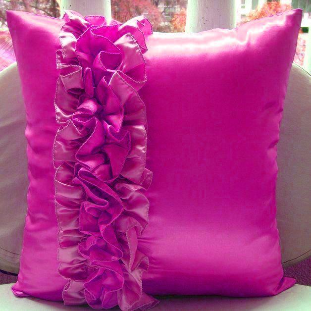 4 Pc Stylish Frill Satin Magenta Cushion Cover Xmas Home Decor In Garden Bedding Sheets Pillowcases