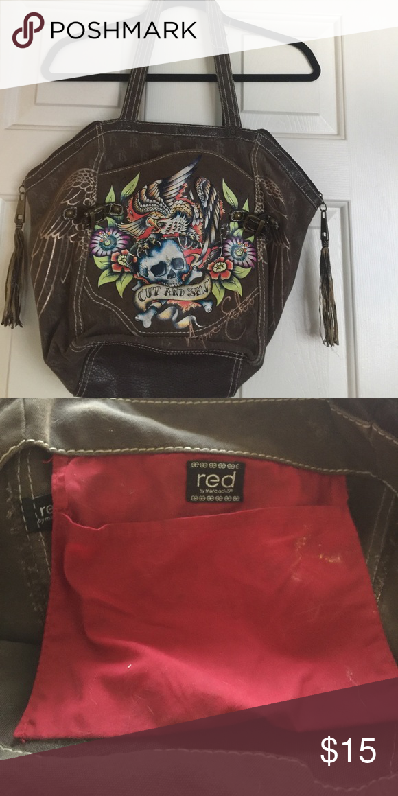 Red by Marc ecko ed hardy purse Loved and used but still in overall good  shape...handles a bit worn and inside needs cleaning marc ecko Bags  Shoulder Bags 4b37248990