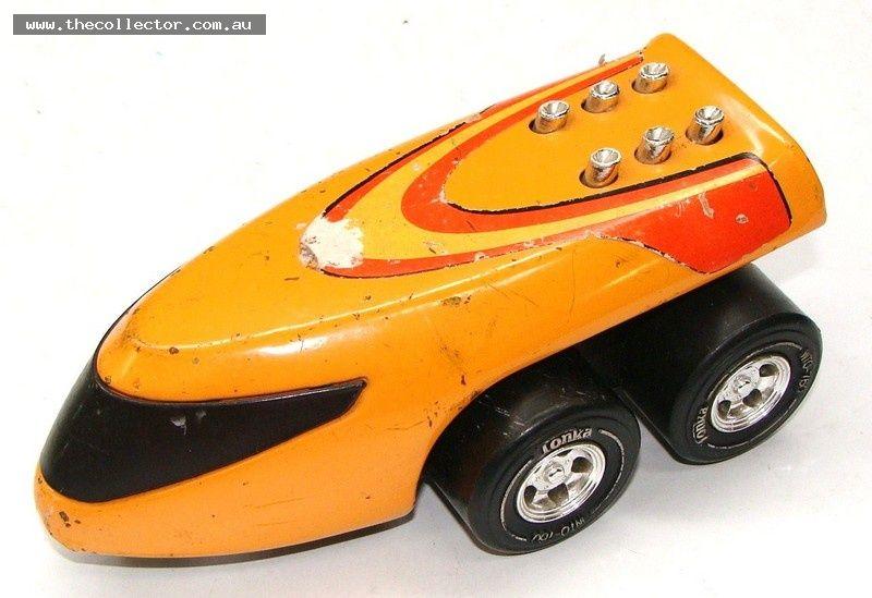 Lot 364 - Vintage retro orange Tonka space vehicle with exhaust stacks