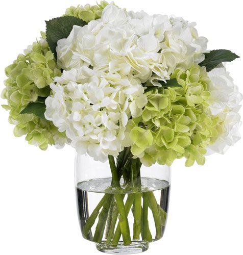 Heavenly Green And White Hydrangeas Diane James Home Hydrangea Arrangements Silk Hydrangeas Arrangements White Flower Arrangements