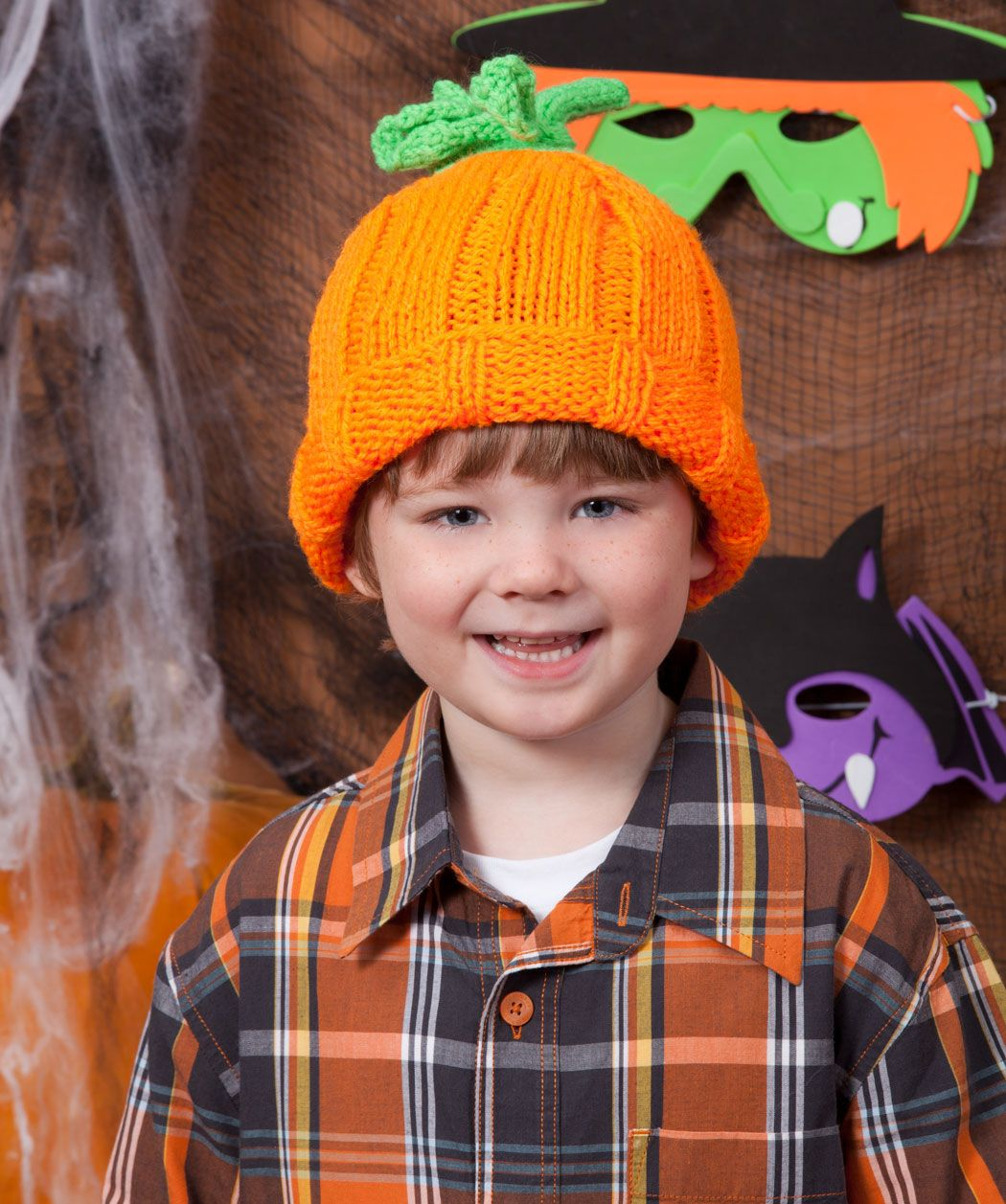 Halloween Knit Pumpkin Hat from Red Heart yarn | Halloween Costumes ...