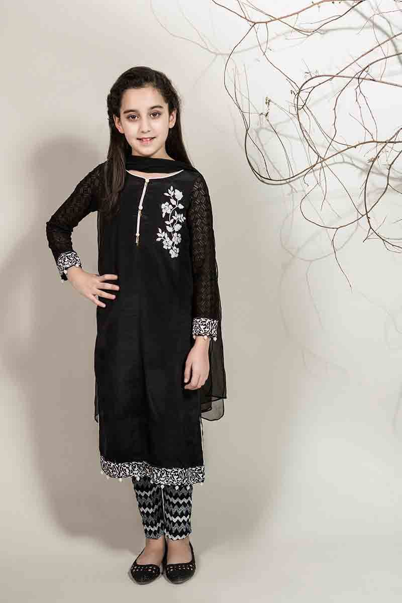 908420b56a4 New black shirt with dupatta for Pakistani little girls Mariab kids party  dresses 2017 for wedding