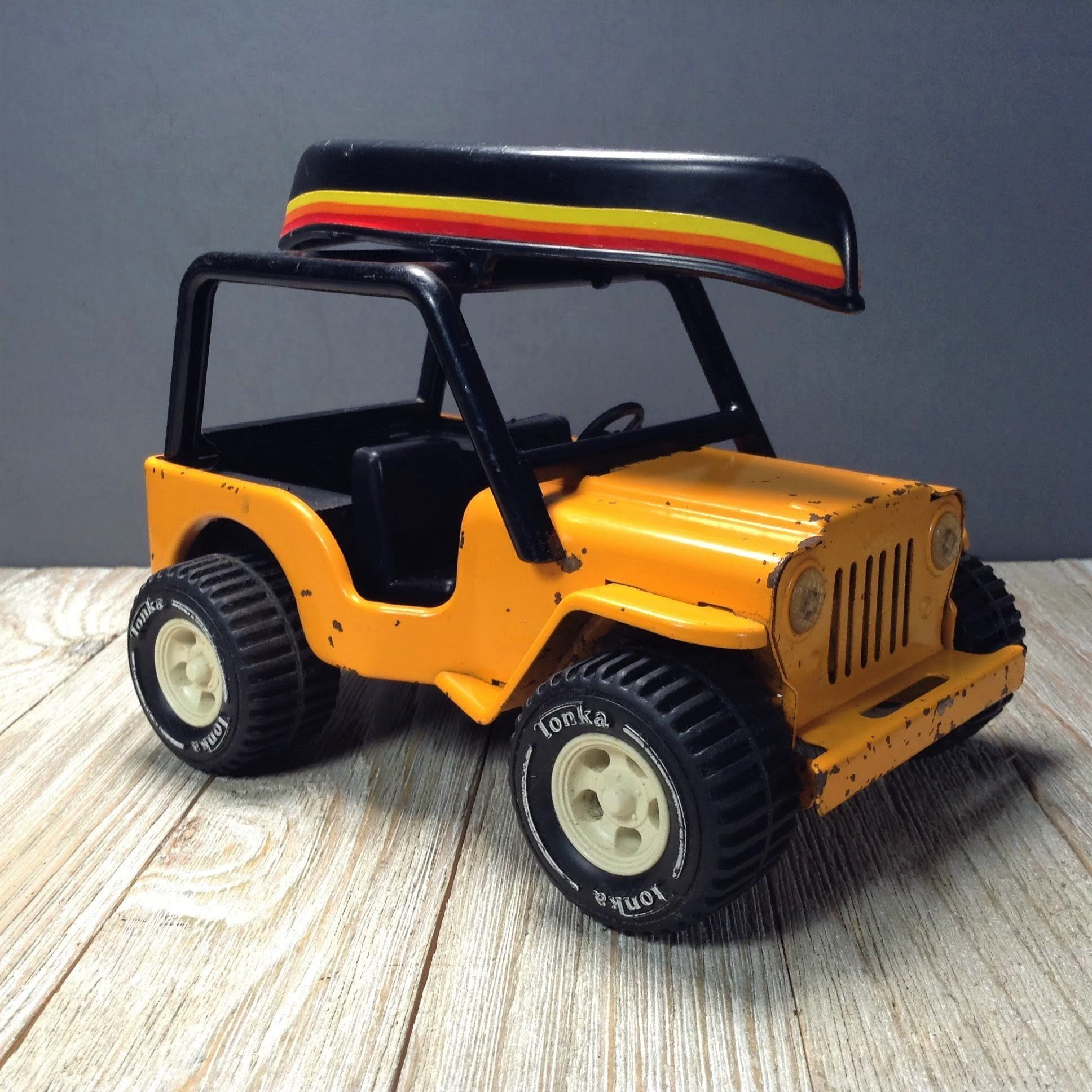 Tonka Jeep Canoe 6 Orange Yellow Jeep 4x4 Mini Tonka Truck