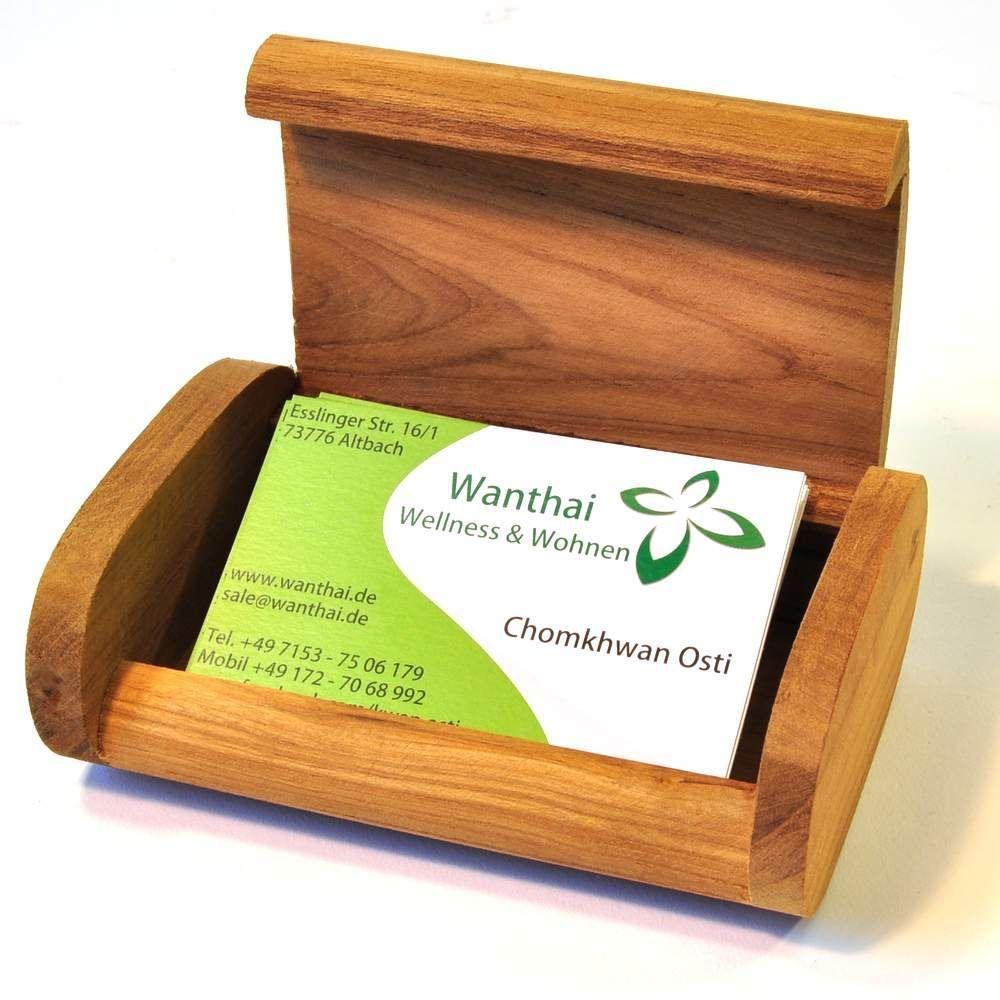 Visitenkarten Box Kistchen Aufsteller Teak Holz In 2019