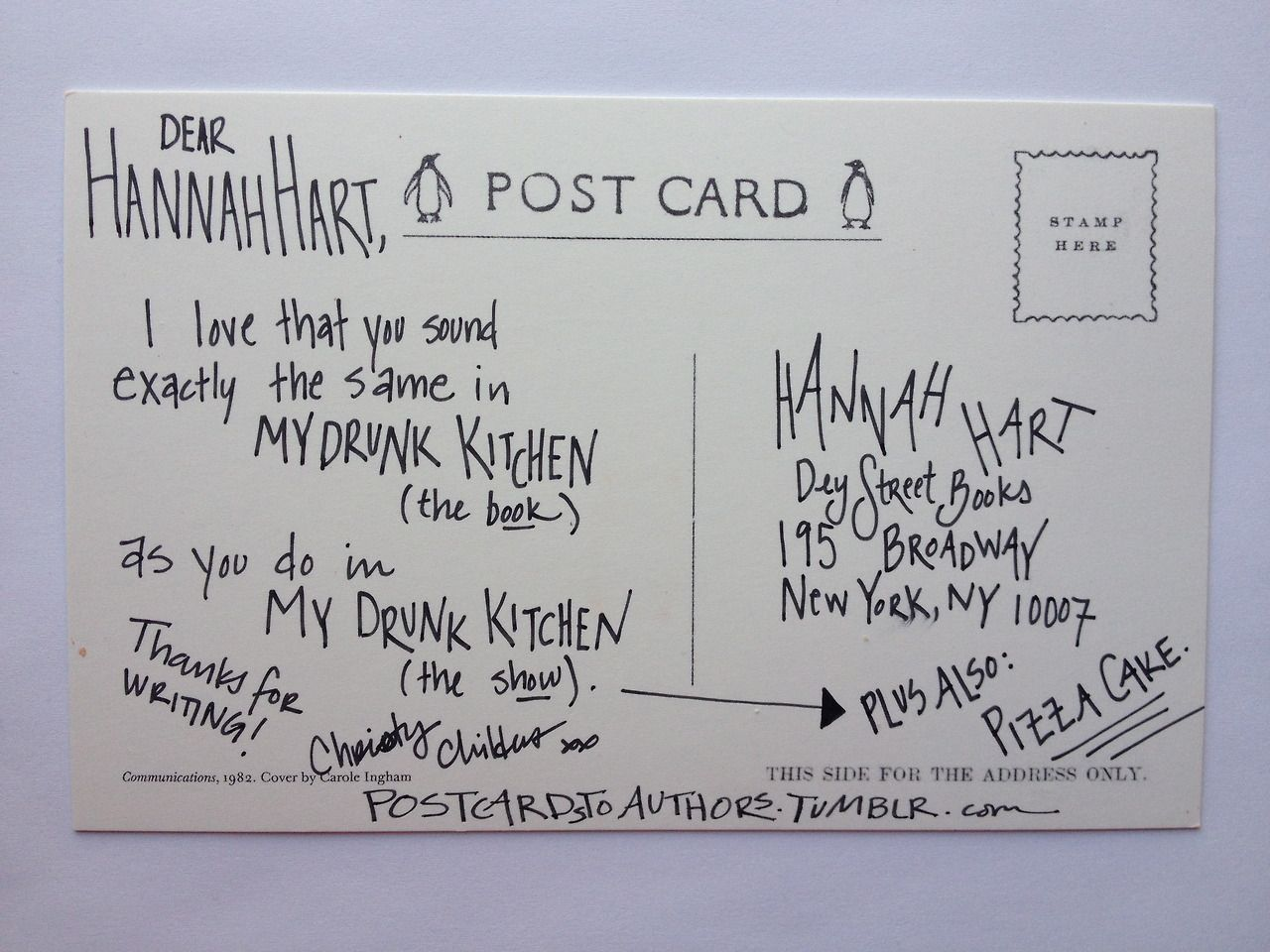 Postcard to Hannah Hart, author of My Drunk Kitchen. | Postcards to ...