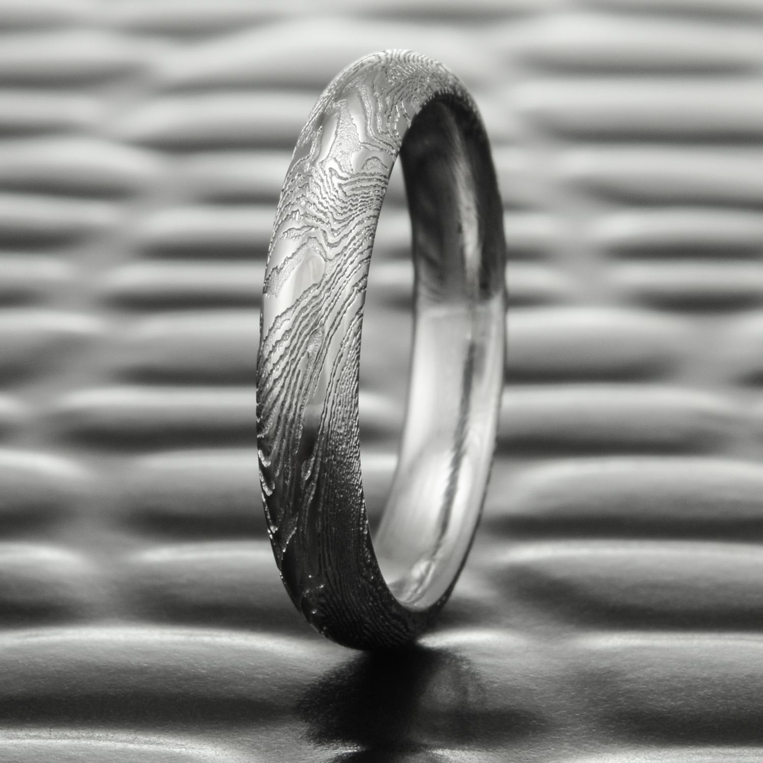 Woodgrain Damascus Steel Wedding Band by Steven Jacob Cool Men s