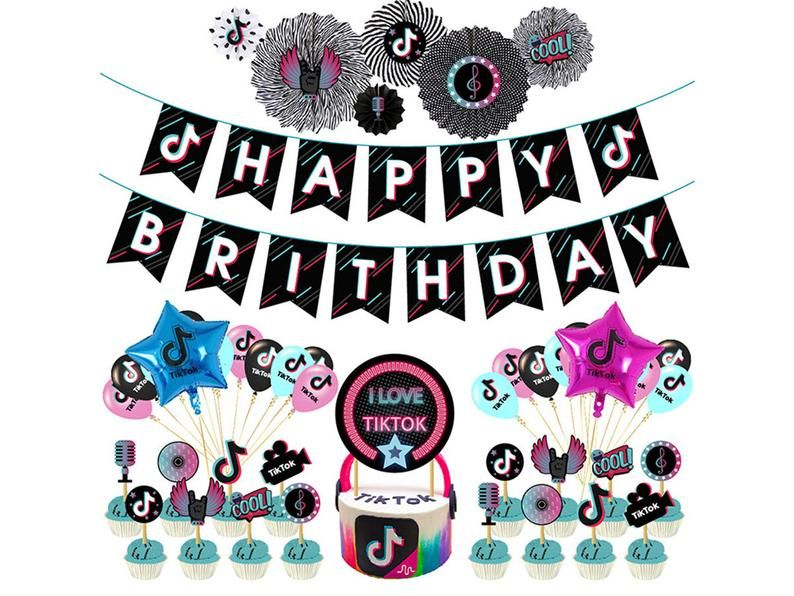 Tik Tok Birthday Decorations Party Suppliestik Tok Etsy In 2021 Birthday Themes For Boys 18th Birthday Party Themes 12 Year Old Birthday Party Ideas