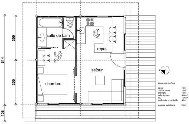 Plan Maison 50m2 Au Sol Plan Maison 50 M Carre Plan Maison Teck 36m2 Plan Maison 50m2 Au Sol Plan Maison Plan Petite Maison Plan De Maison Gratuit