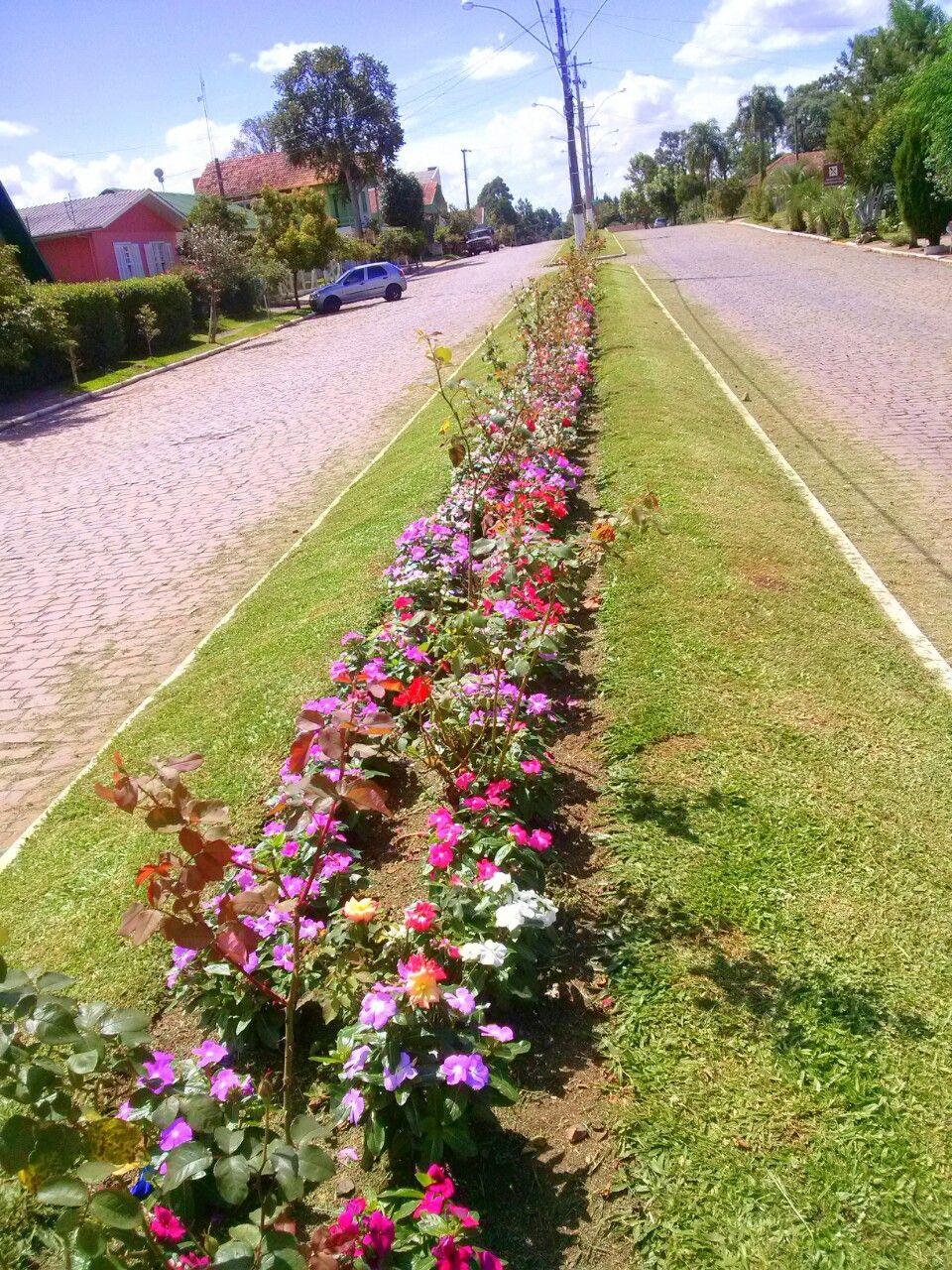Canteiros floridos na rua principal de Criúva.