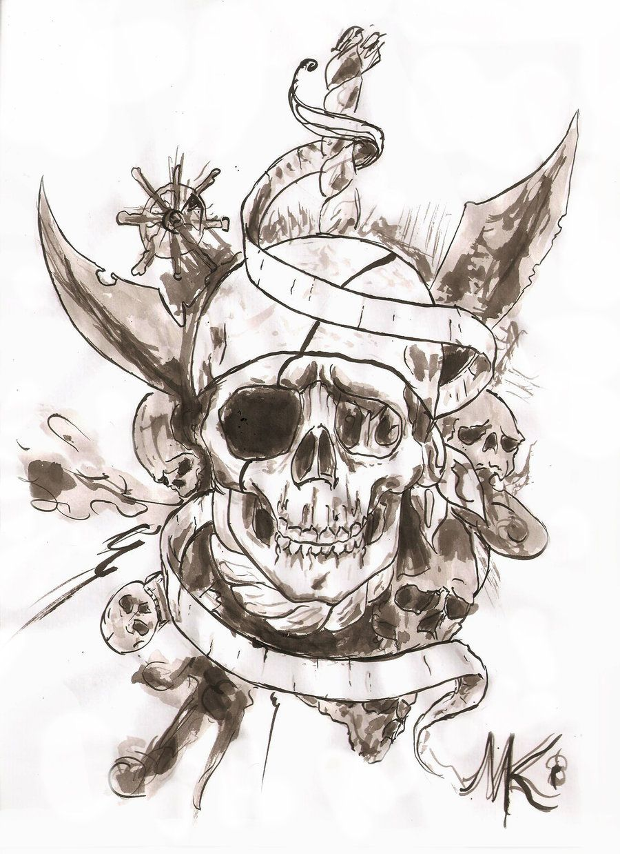 pirate skull tattoo design idea with banner pinteres. Black Bedroom Furniture Sets. Home Design Ideas
