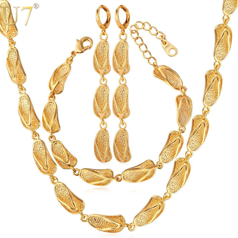 U dubai gold color jewelry sets for women sandal shapes earrings