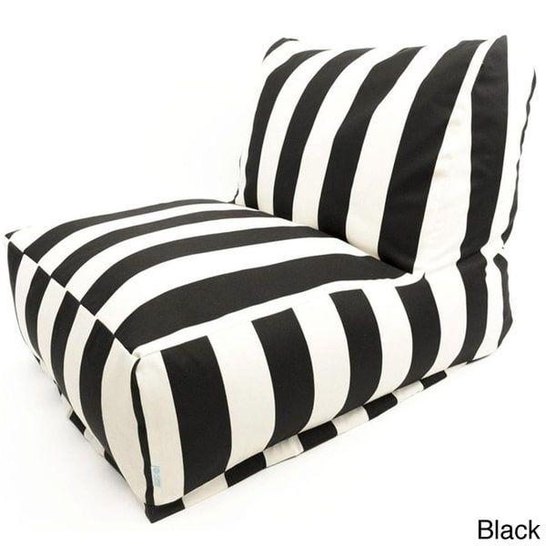Majestic Home Goods Indoor/Outdoor Vertical Stripe Bean Bag Chair ...