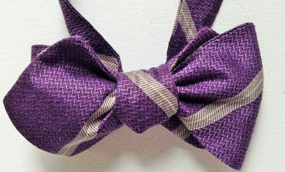 Silk Bow Tie - HAPPY JOE Power to the Purple - One-a-Kind, Handcrafted for Men - Free Shipping