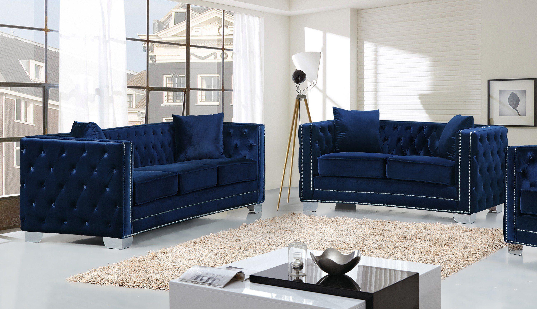 reese 2pc modern tufted navy velvet sofa loveseat set silver rh pinterest com