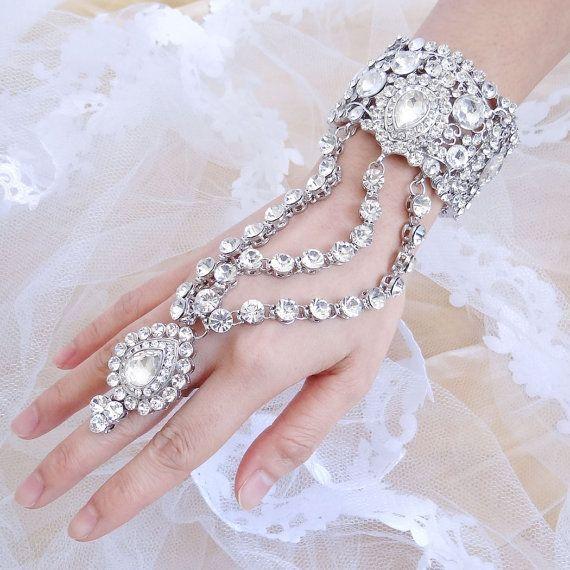 Hollywood Inspired Swarovski Crystal Bracelet Ring Set, Rhinestone Hand Chain Cuff, Finger Ring Bracelet, Bridesmaid Jewelry-171585551 on Etsy, $35.99