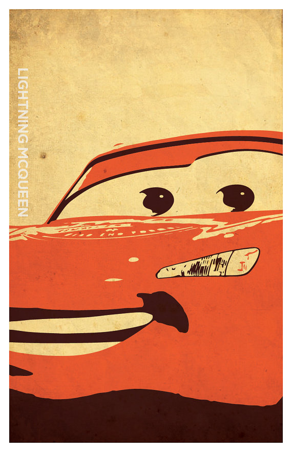 Cars Inspired Poster Set, Mcqueen, Mater, Minimalistic Grunge Style ...