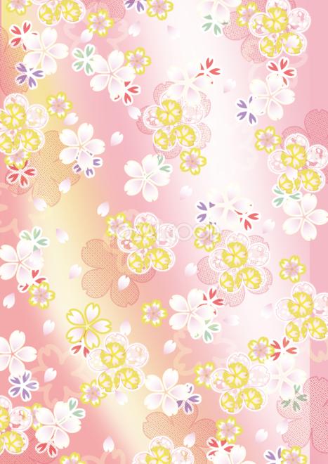 縦の着物風の和風桜柄背景フリー無料イラスト画像83221 素材good