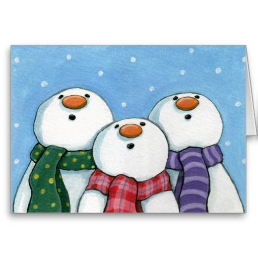"""<img src=""""http://i702.photobucket.com/albums/ww27/LisaMarieArt/tba-award.jpg"""" width=""""350"""" height=""""50"""" /><br/><br/>3 whimsical snowmen staring at the falling snow in awe. Fun Christmas greeting card. Created from an original painting 2008 Lisa Marie Robinson<br/><br/>"""