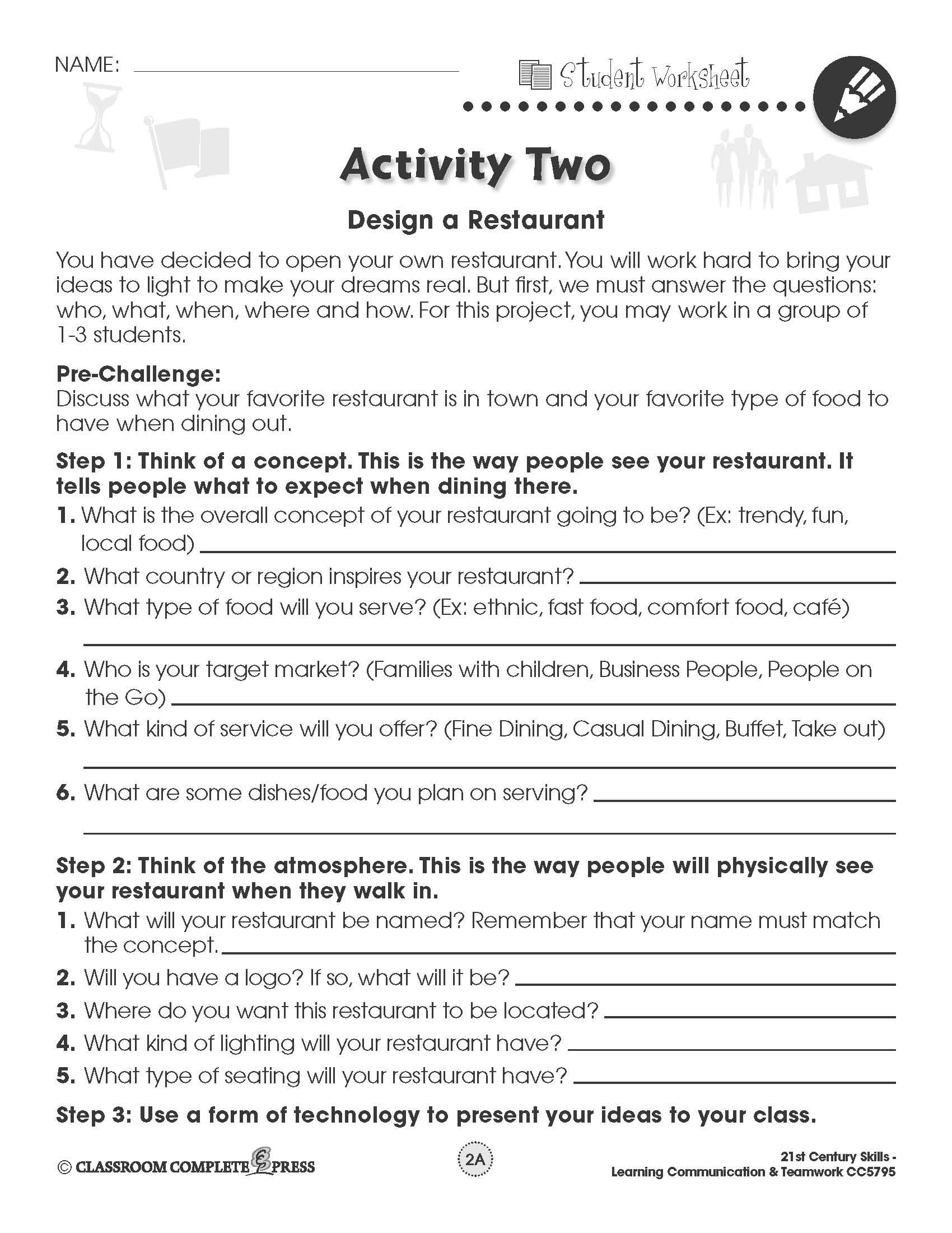 Design Your Own Restaurant In This Free Activity From Ccp