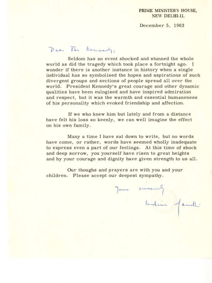 Condolence Letter From Indira Gandhi To Jacqueline Kennedy Jackie