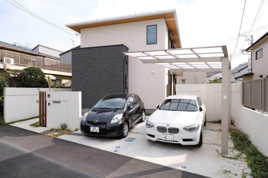サンシェードのある出入庫しやすいカーポート オープン外構 施工 工事