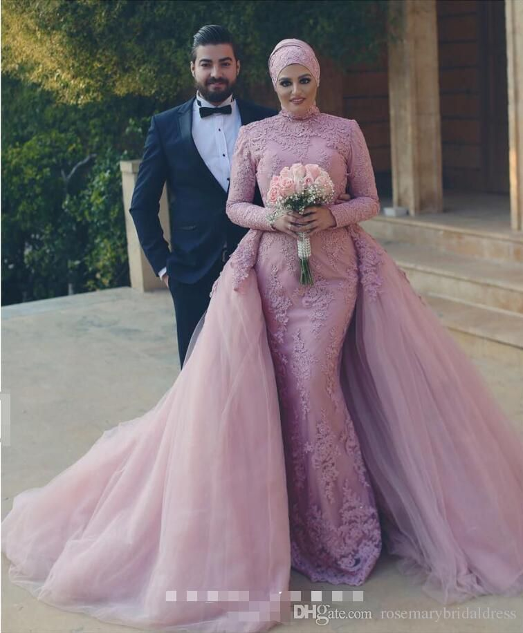 f604c27d261c Dusty Pink Mermaid Lace Wedding Dresses Long Sleeve Muslim Bridal Dresses  With Detachable Skirts Elegant Middle