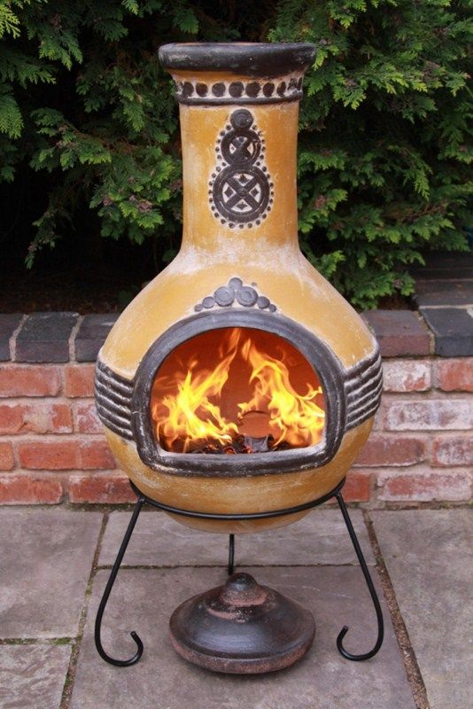 Details About Mexican Clay Chimenea Mayan Aztec Chiminea Patio