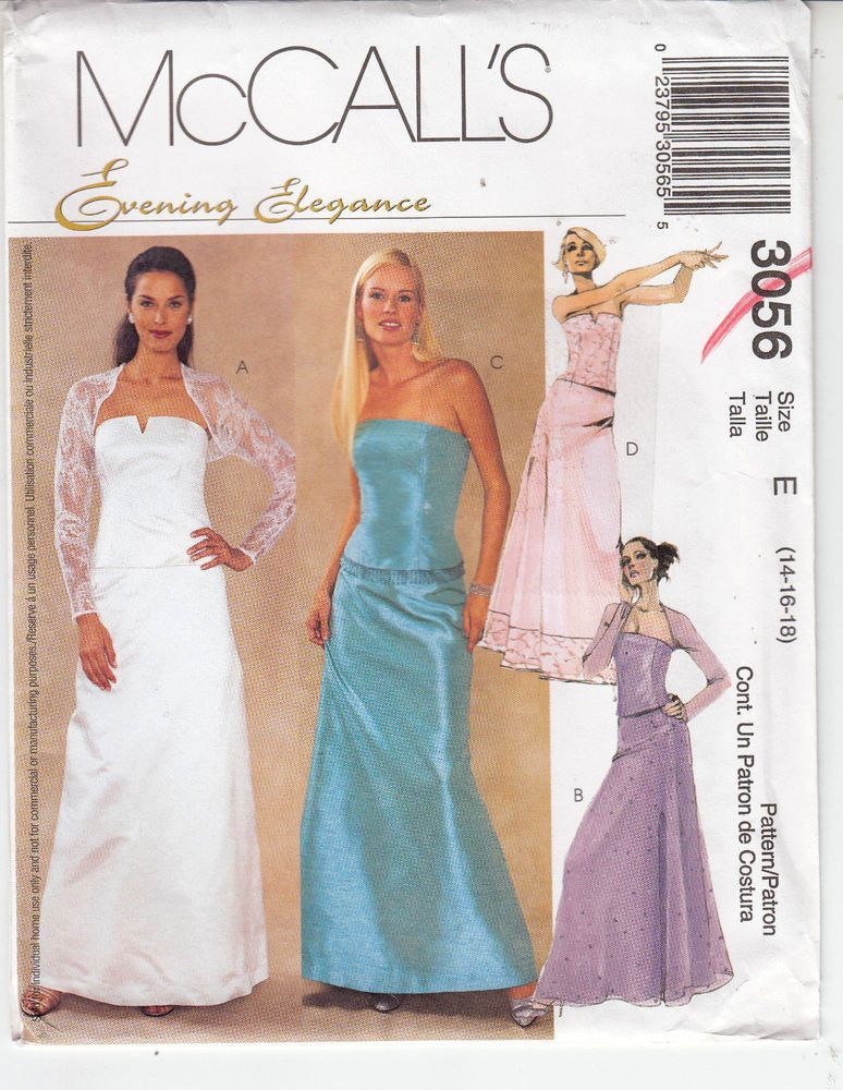 Wedding Bridal Bridesmaid Bustier Skirt McCalls Sewing Pattern 3056 Uncut 14-18 #McCalls3056 #halter