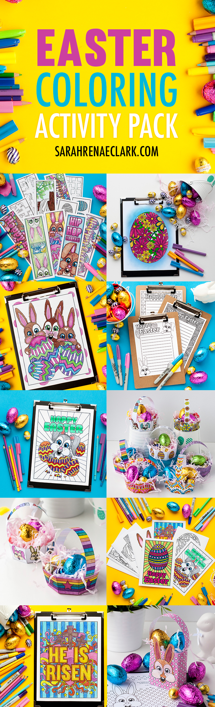 Easter coloring activity pack bookmarks cards coloring