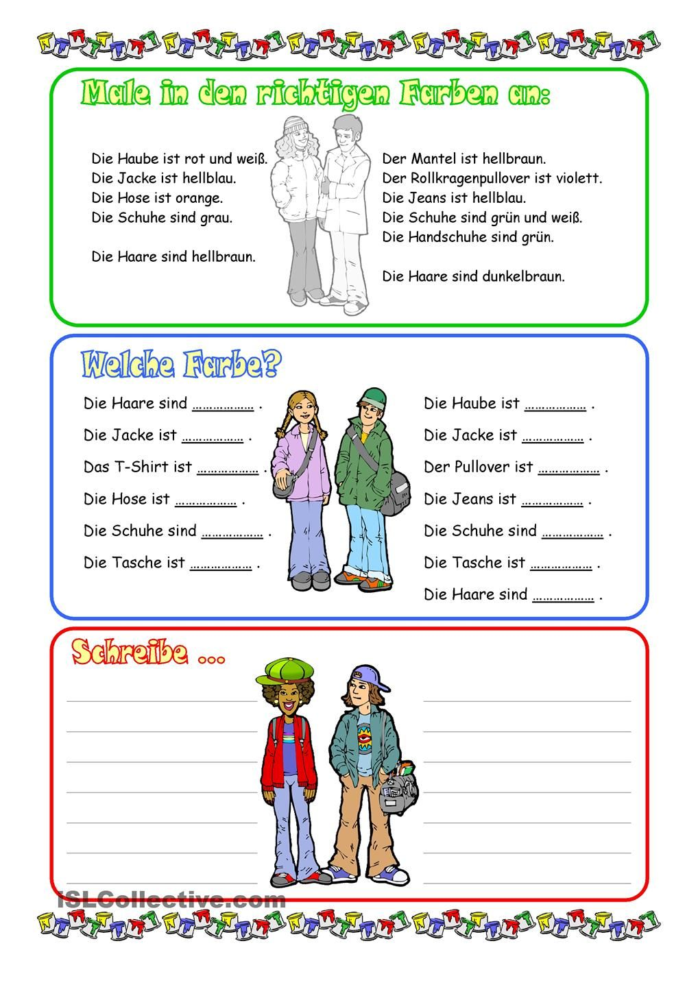 Kleidung und Farben | deutsch | Pinterest | German, Worksheets and ...