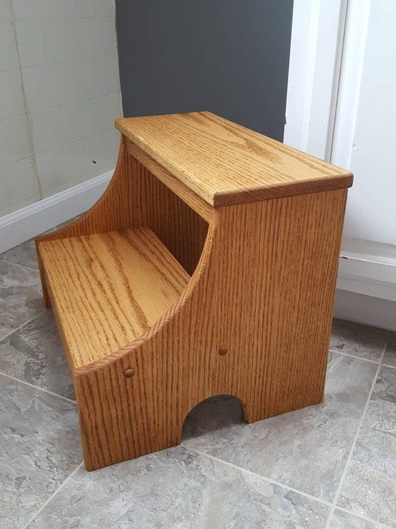 Wooden Step Stool Bedside: MADE TO ORDER *:~:*:~:* Our Handmade Wood Step Stools Are