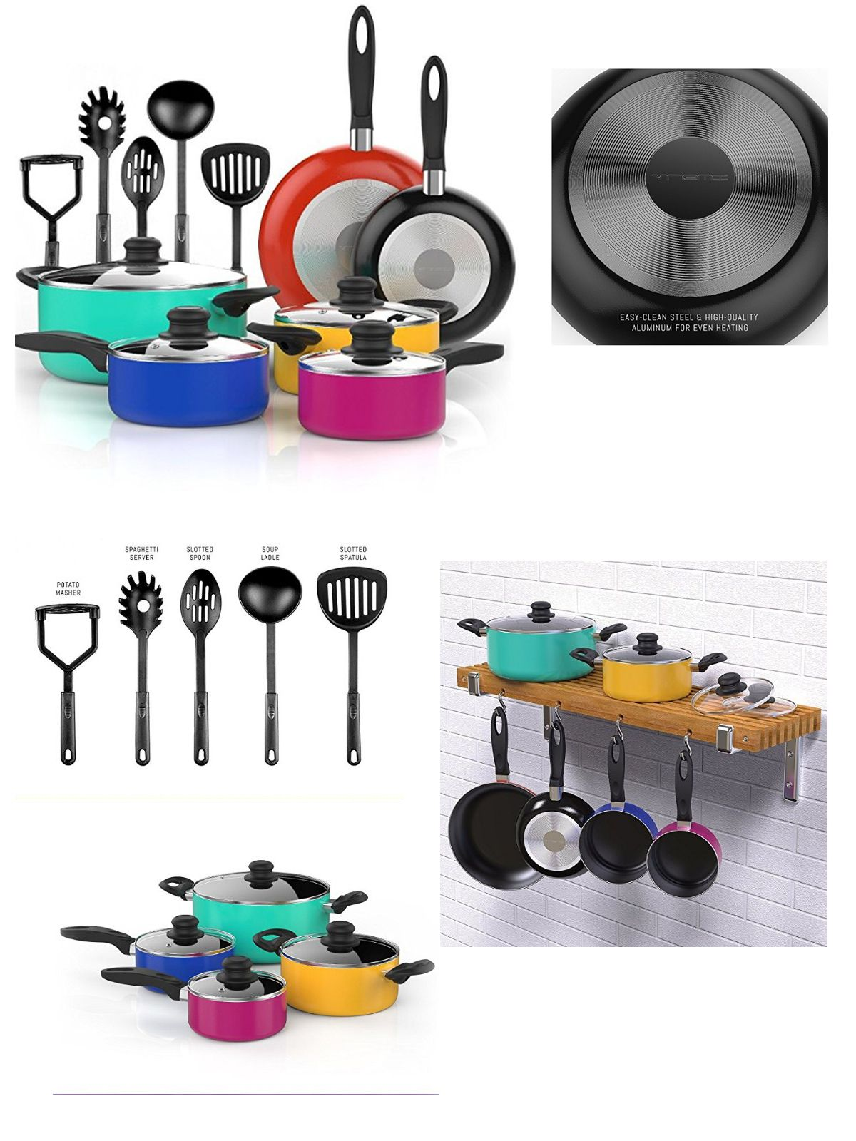 vremi 15 piece nonstick cookware set colored kitchen pots and pans rh pinterest com