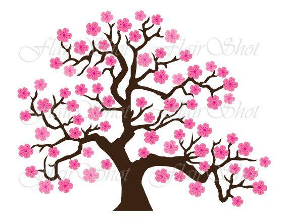 digital clip art pink cherry blossom tree clipart bonsai tree rh pinterest com cherry blossom branch clipart clipart cherry blossom