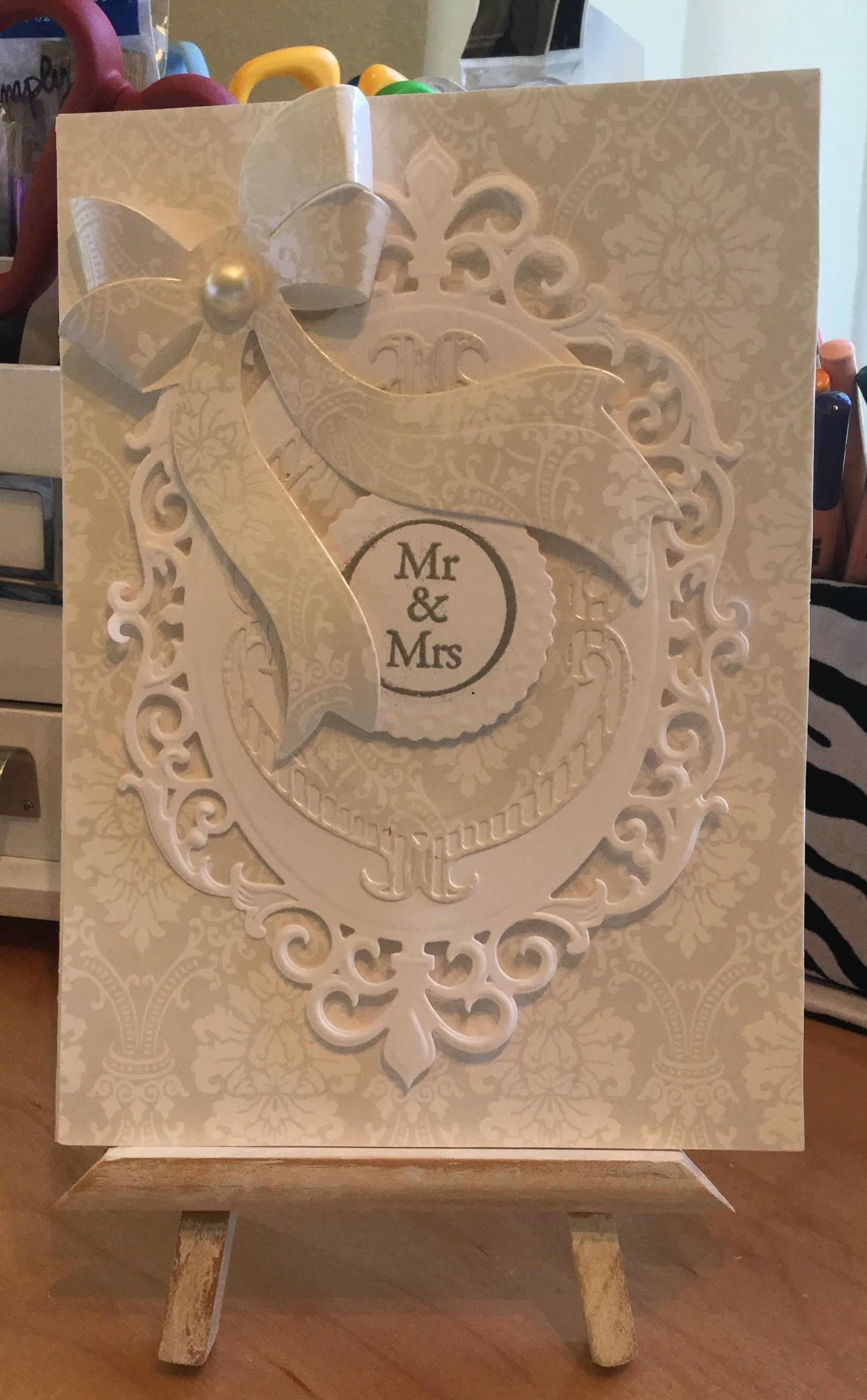 wedding anniversary card pictures%0A Wedding Card   Made with Spellbinders Fleur DecElegance and Anna Griffin  Bow Die   Handcrafted By