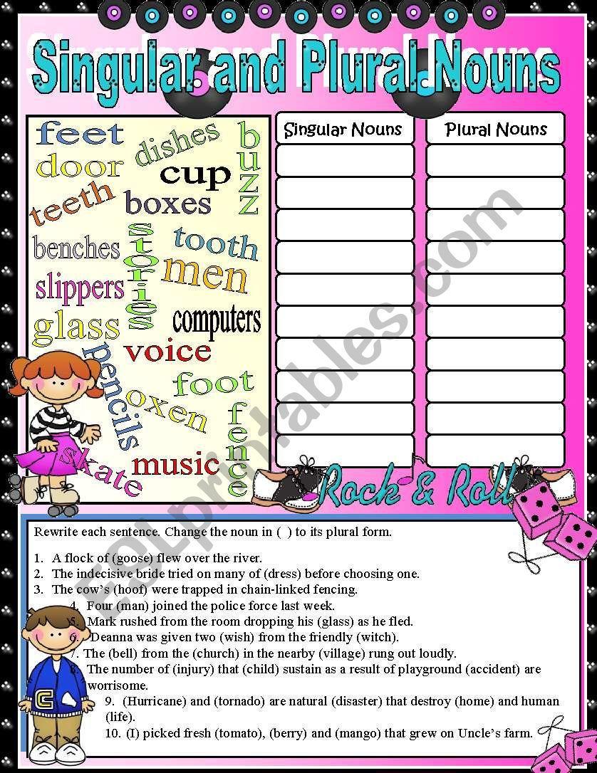 Pin on Singular and plural nouns