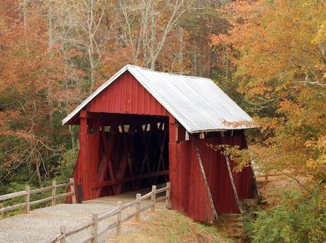 Campbell's Covered Bridge is the last remaining covered bridge in South Carolina.  It was built in 1909 and is located in Greenville County, near the small town of Gowensville.
