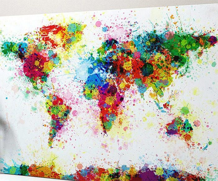 40 Creative Remakes of The World Map Creative Remakes of The World - copy rainbow world map canvas
