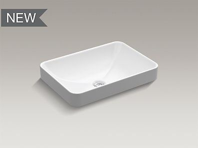 Kohler K 5373 0 Vox 174 Rectangle Vessel Above Counter Bathroom Sink Height 6 7 8 Quot Length 22 5