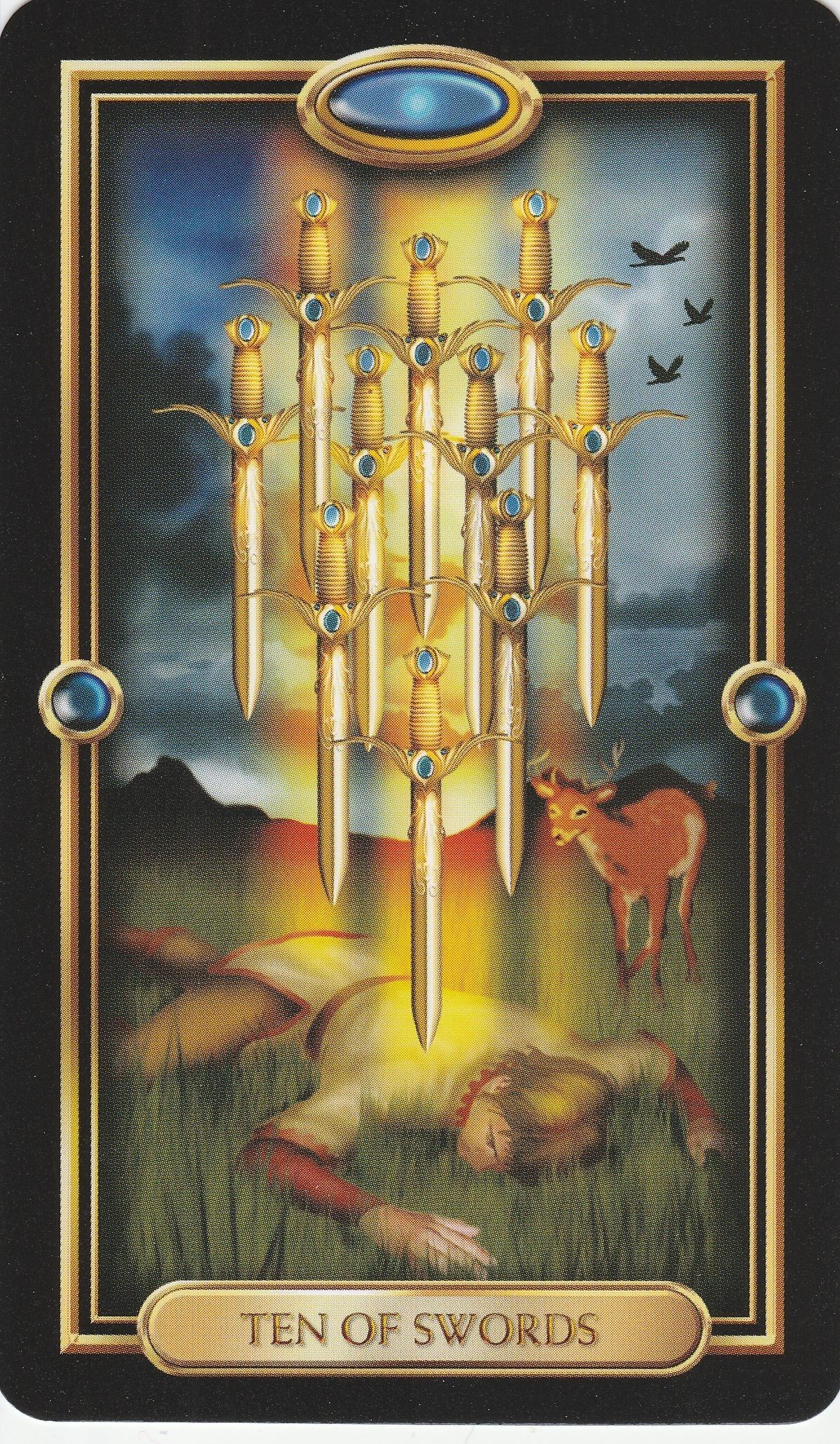 10 of swords gilded tarot by duro marchetti tarot card