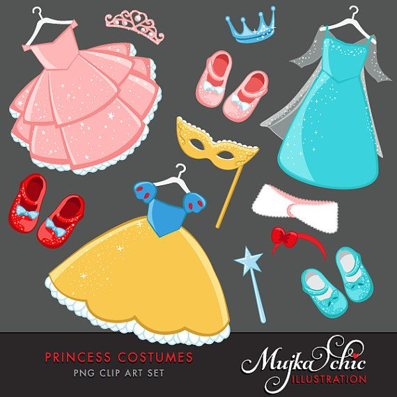 Princess Costumes Clipart With Cute Matching Dress Up Etsy Princess Costumes Costume Party Clip Art
