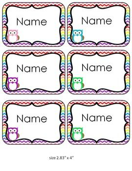 Chevron Owl Name Tags And Labels Editable Owl Name Tags