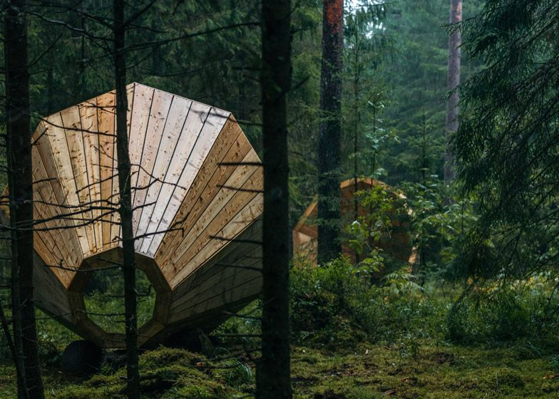 This trio of mammoth timber funnels is designed to magnify the natural sounds of a forest in southern Estonia, and to double up as a space for ramblers to contemplate and rest.