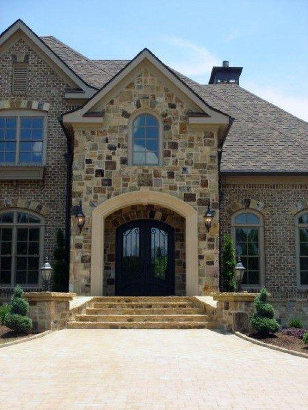 40 Pretty Stone House Design Ideas On A Budget House Exterior Brick Exterior House Cladding Design