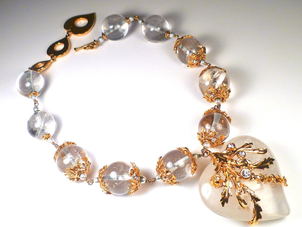 Rock crystal haute couture ysl necklace by robert goossens