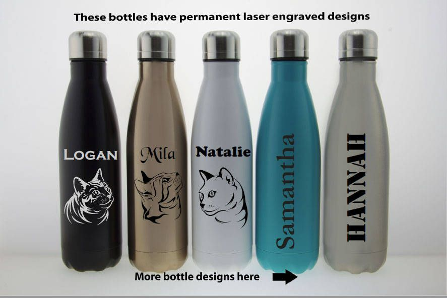 Personalized Stainless Steel Engrave Swell Water Bottle Name Gifts For Cat Lover Custom Laser Engraved Gift Her Him Wife Mom By