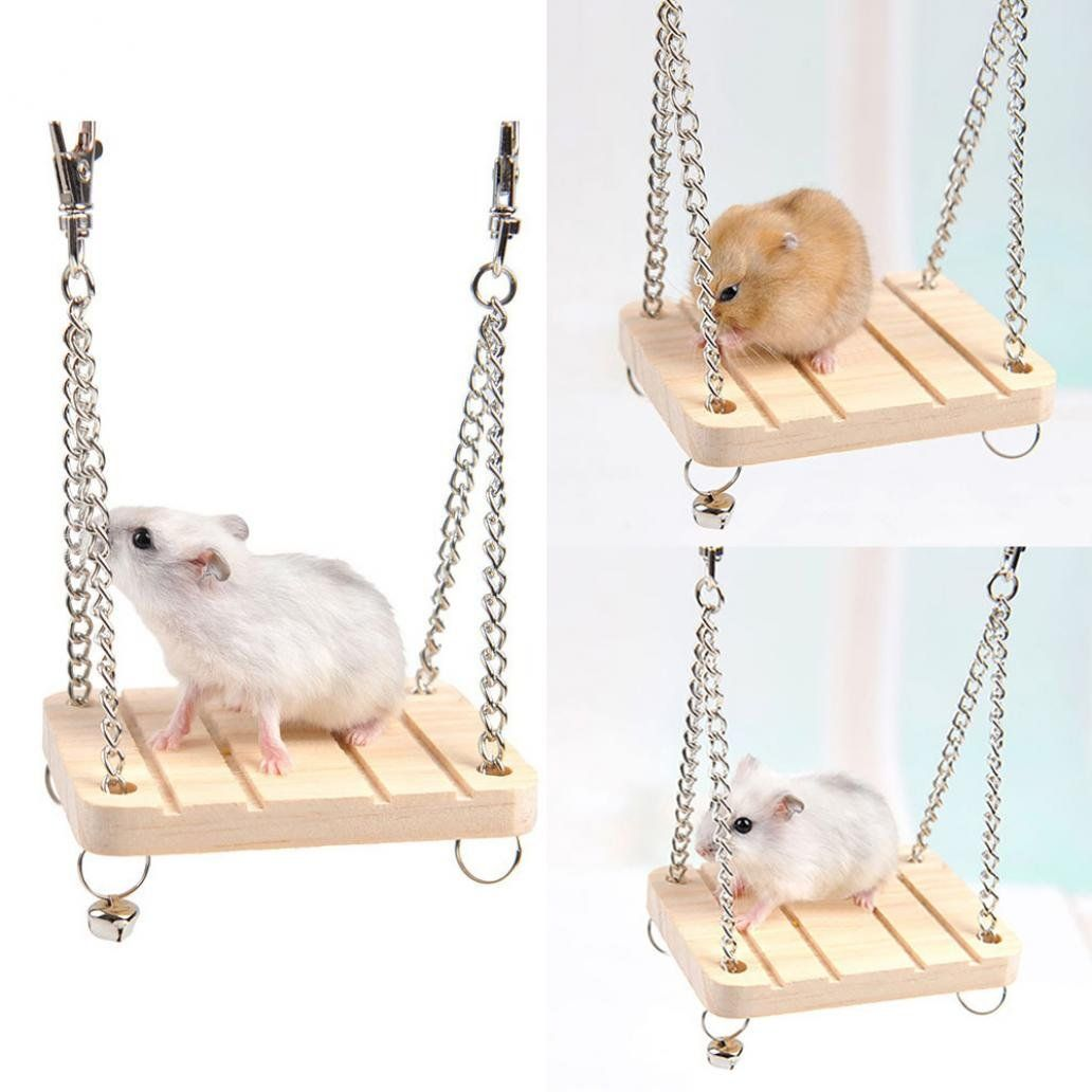 Wooden Hanging Swing Hammock Hamster For Pet Syrian Hamster Gerbil Rat Mouse Chinchilla Small Animal Cage Toy Pet Chain Wi Small Animal Cage Parrot Pet Hamster