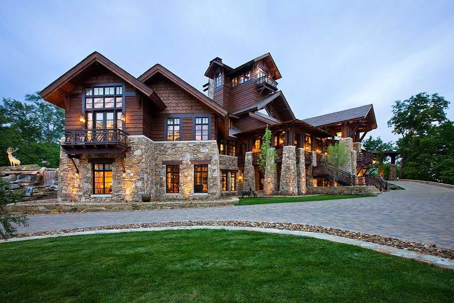 Timber frame home design logs house and cabin for Log and stone home plans