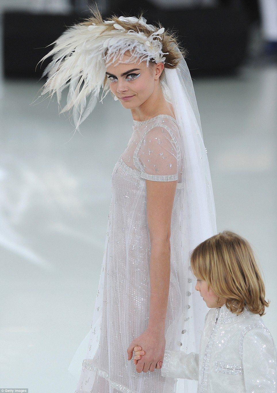 Cara Chanel Haute Couture Paris Fashion Week 2014 Feathers And A Veil